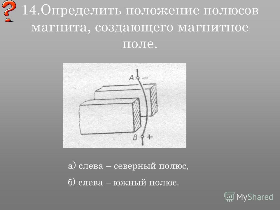 14. Определить положение полюсов магнита, создающего магнитное поле. а) слева – северный полюс, б) слева – южный полюс.
