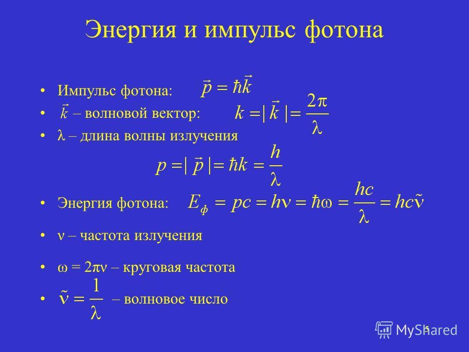 5 Энергия и импульс фотона Импульс фотона: – волновой вектор: λ – длина волны излучения Энергия фотона: ν – частота излучения ω = 2πν – круговая частота – волновое число
