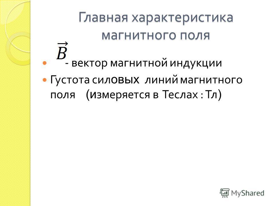 Главная характеристика магнитного поля - вектор магнитной индукции Густота силовых линий магнитного поля (измеряется в Теслах : Тл )