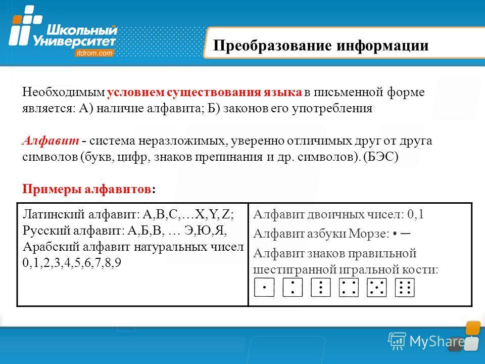 Преобразование информации Необходимым условием существования языка в письменной форме является: А) наличие алфавита; Б) законов его употребления Алфавит - система неразложимых, уверенно отличимых друг от друга символов (букв, цифр, знаков препинания