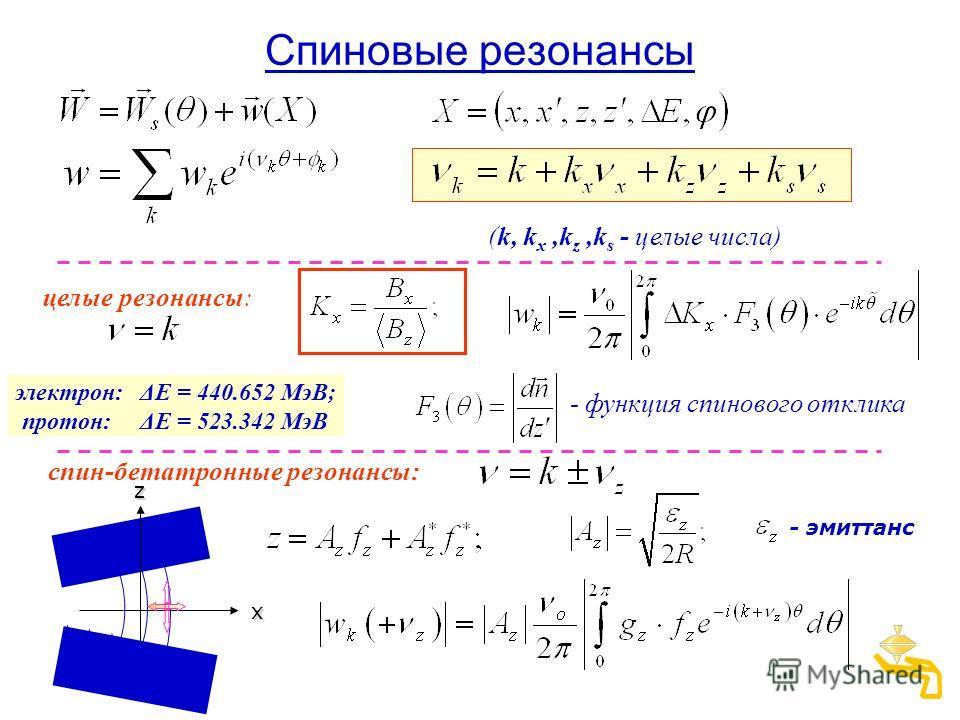 Спиновые резонансы целые резонансы: спин-бетатронные резонансы: - эмиттанс (k, k x,k z,k s - целые числа) - функция спинового отклика xz электрон: ΔE = 440.652 МэВ; протон: ΔE = 523.342 МэВ