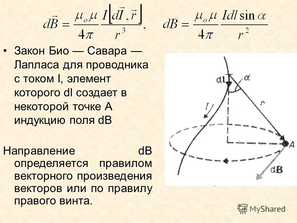 Закон Био Савара Лапласа для проводника с током I, элемент которого dl создает в некоторой точке А индукцию поля dB Направление dB определяется правилом векторного произведения векторов или по правилу правого винта.