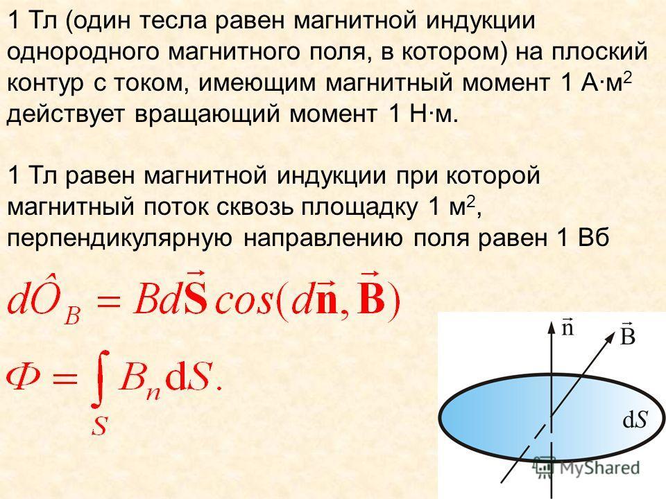1 Тл (один тесла равен магнитной индукции однородного магнитного поля, в котором) на плоский контур с током, имеющим магнитный момент 1 А·м 2 действует вращающий момент 1 Н·м. 1 Тл равен магнитной индукции при которой магнитный поток сквозь площадку