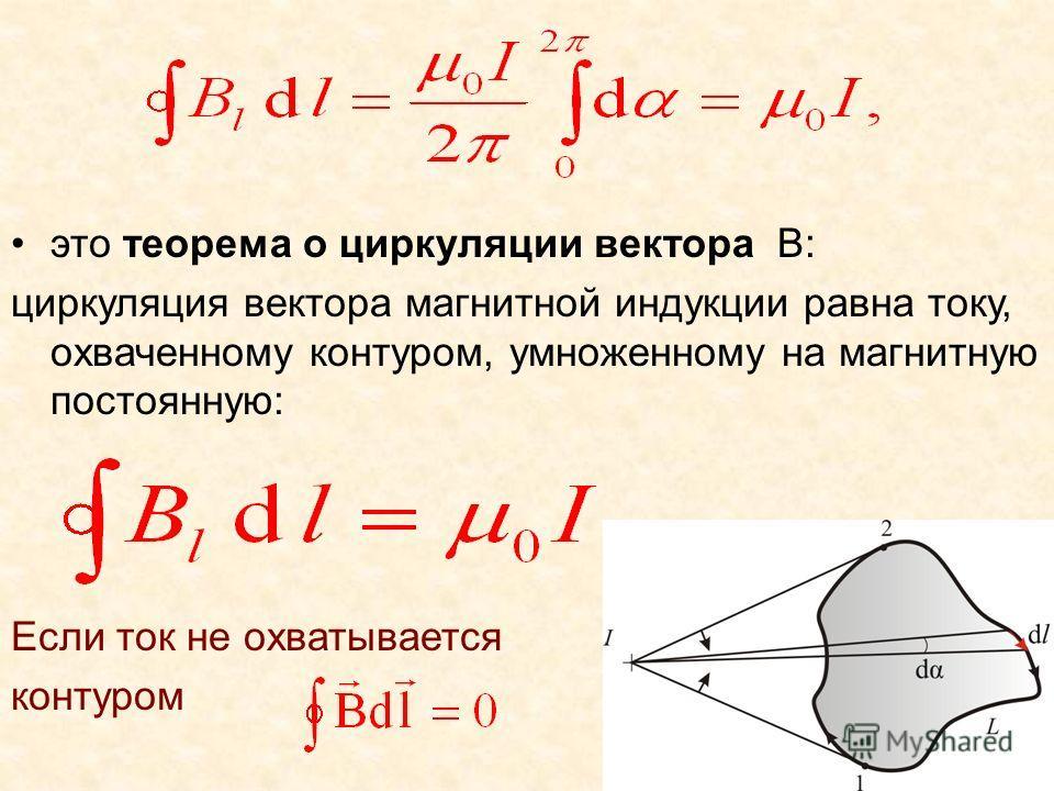 это теорема о циркуляции вектора B: циркуляция вектора магнитной индукции равна току, охваченному контуром, умноженному на магнитную постоянную: Если ток не охватывается контуром