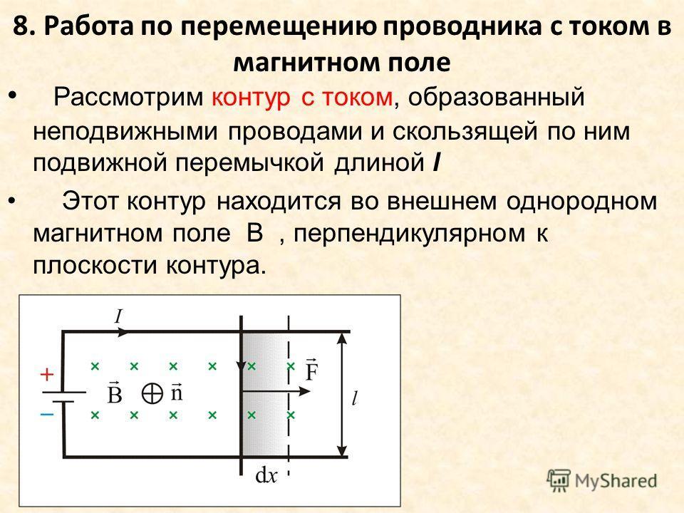 8. Работа по перемещению проводника с током в магнитном поле Рассмотрим контур с током, образованный неподвижными проводами и скользящей по ним подвижной перемычкой длиной l Этот контур находится во внешнем однородном магнитном поле B, перпендикулярн