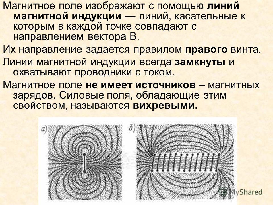 Магнитное поле изображают с помощью линий магнитной индукции линий, касательные к которым в каждой точке совпадают с направлением вектора В. Их направление задается правилом правого винта. Линии магнитной индукции всегда замкнуты и охватывают проводн