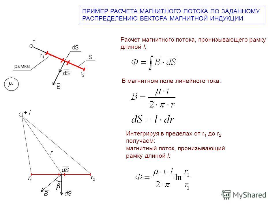 ПРИМЕР РАСЧЕТА МАГНИТНОГО ПОТОКА ПО ЗАДАННОМУ РАСПРЕДЕЛЕНИЮ ВЕКТОРА МАГНИТНОЙ ИНДУКЦИИ β Расчет магнитного потока, пронизывающего рамку длиной l: В магнитном поле линейного тока: Интегрируя в пределах от r 1 до r 2 получаем: магнитный поток, пронизыв