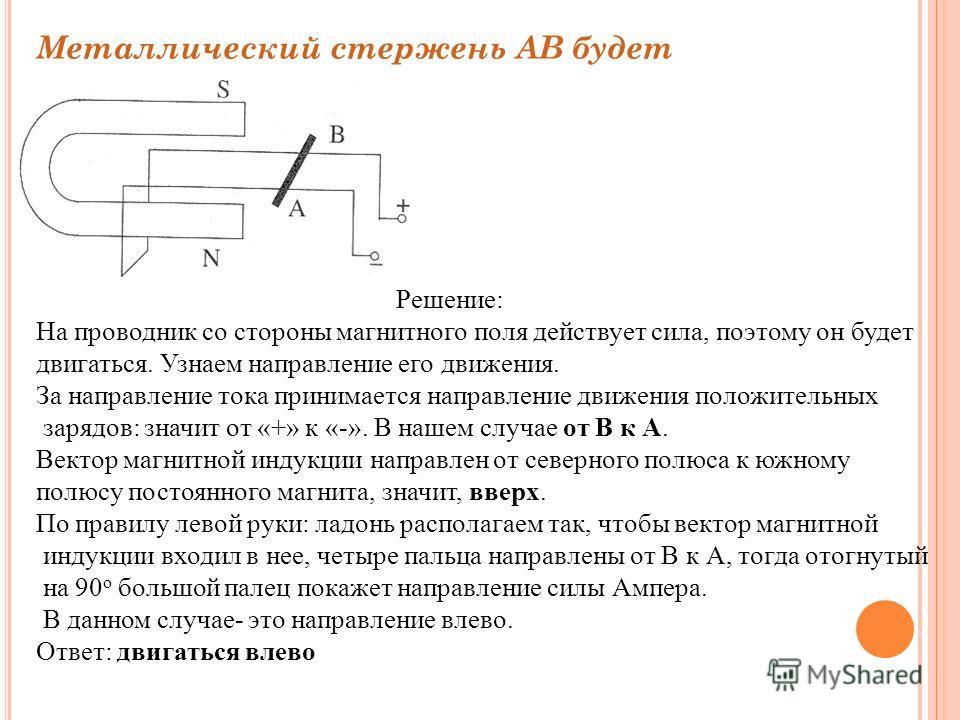 Металлический стержень АВ будет Решение: На проводник со стороны магнитного поля действует сила, поэтому он будет двигаться. Узнаем направление его движения. За направление тока принимается направление движения положительных зарядов: значит от «+» к