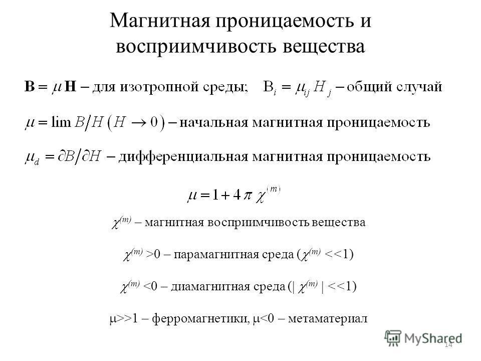 Магнитная проницаемость и восприимчивость вещества 14 (m) – магнитная восприимчивость вещества (m) >0 – парамагнитная среда ( (m)