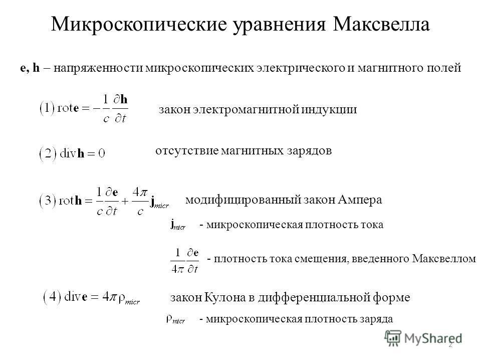 Микроскопические уравнения Максвелла e, h – напряженности микроскопических электрического и магнитного полей закон электромагнитной индукции отсутствие магнитных зарядов модифицированный закон Ампера - плотность тока смещения, введенного Максвеллом з