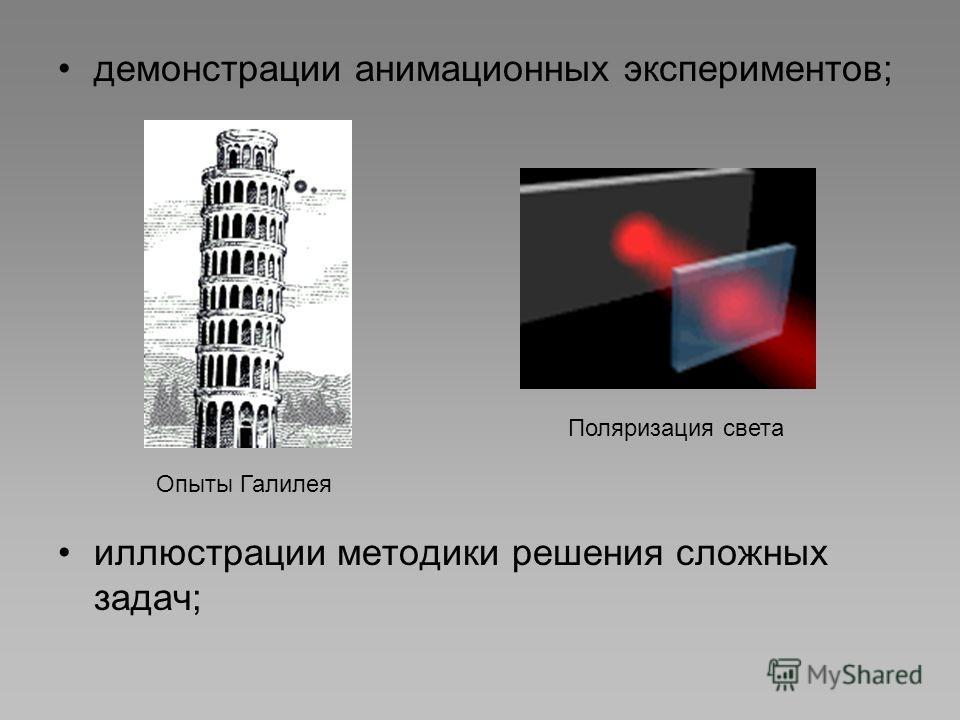 демонстрации анимационных экспериментов; иллюстрации методики решения сложных задач; Поляризация света Опыты Галилея