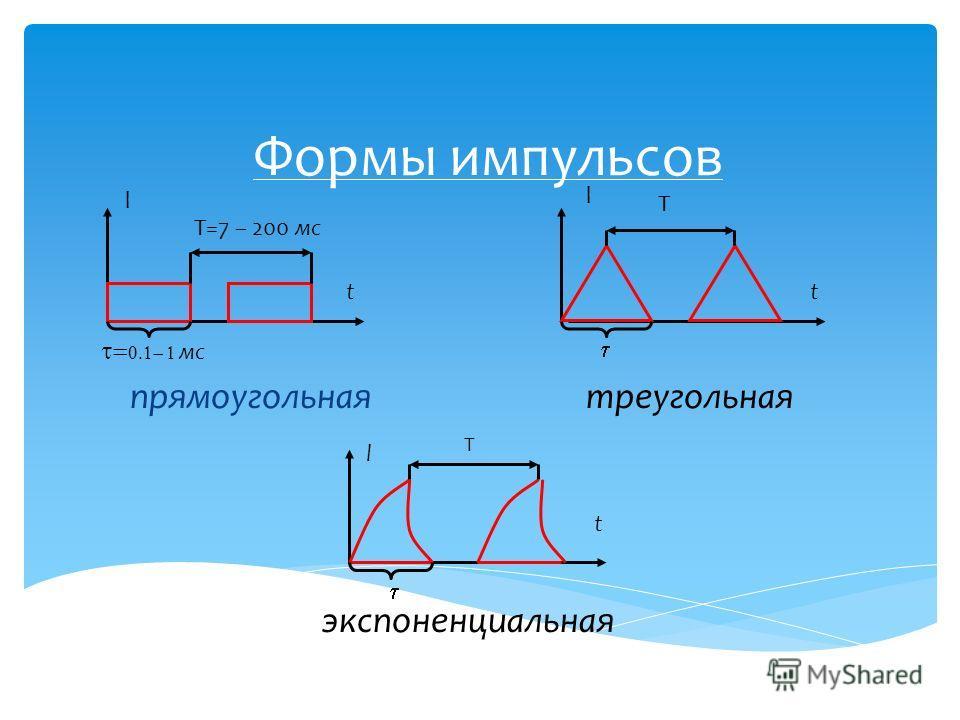 Формы импульсов мс l T прямоугольная экспоненциальная треугольная l l t t t T=7 – 200 мс Т