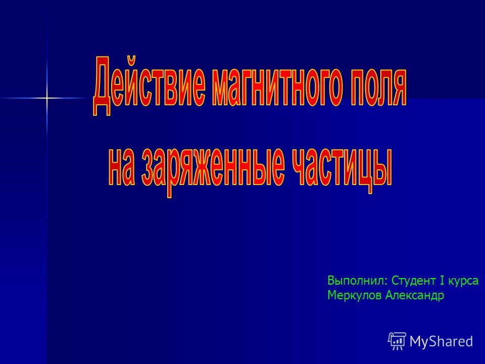 Выполнил: Студент I курса Меркулов Александр