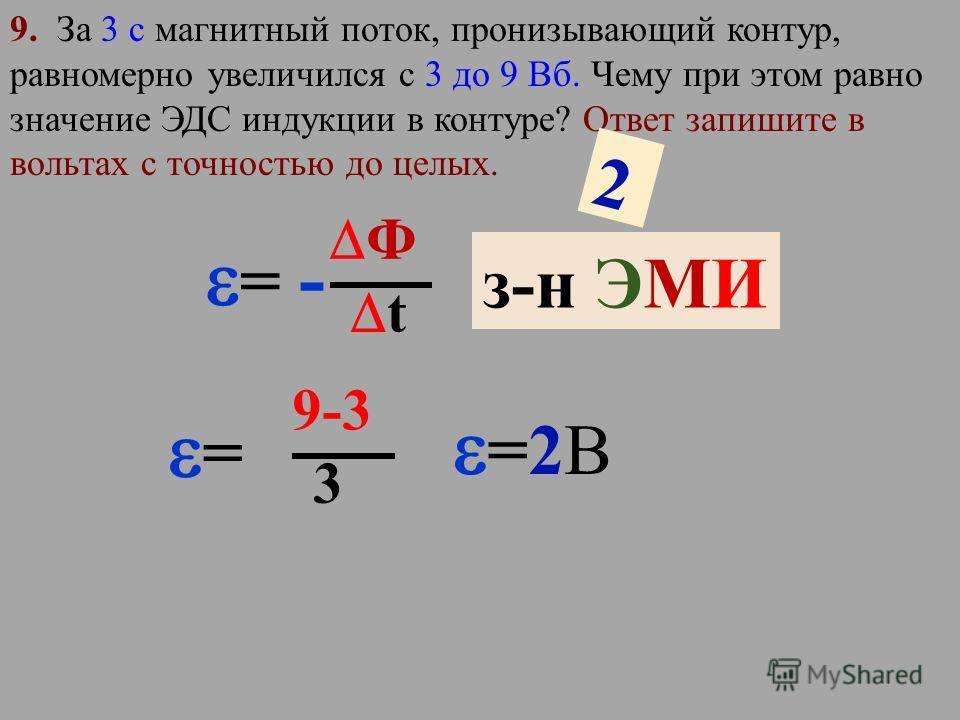 8. При каком значении силы тока в контуре индуктивностью 2 Гн магнитный поток через контур равен 4 Вб? Ответ запишите в амперах с точностью до целых. Ф В I Ф=LI Ф=LI 4Вб =2ГнI I=2А I=2А 2