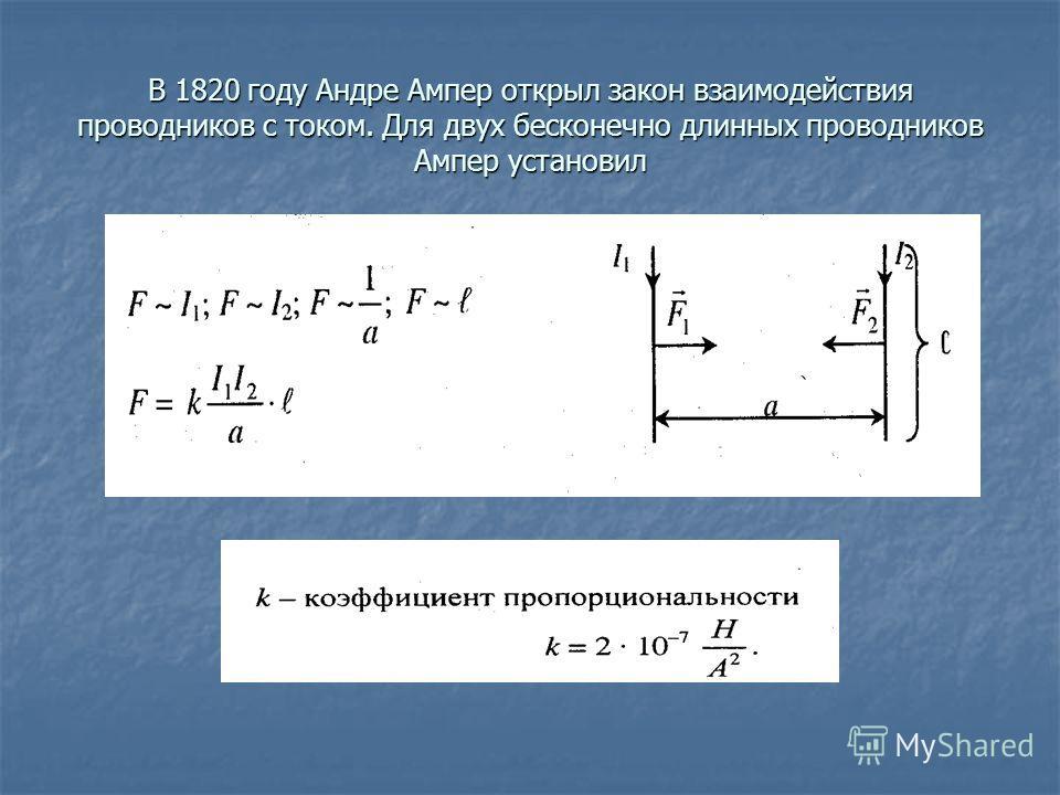 В 1820 году Андре Ампер открыл закон взаимодействия проводников с током. Для двух бесконечно длинных проводников Ампер установил
