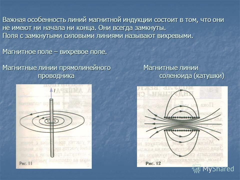 Важная особенность линий магнитной индукции состоит в том, что они не имеют ни начала ни конца. Они всегда замкнуты. Поля с замкнутыми силовыми линиями называют вихревыми. Магнитное поле – вихревое поле. Магнитные линии прямолинейного Магнитные линии