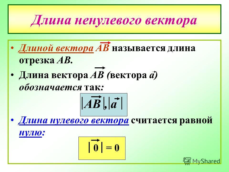 Длина ненулевого вектора Длиной вектора АВ называется длина отрезка АВ. Длина вектора АВ (вектора а) обозначается так: АВ, а Длина нулевого вектора считается равной нулю: 0= 0