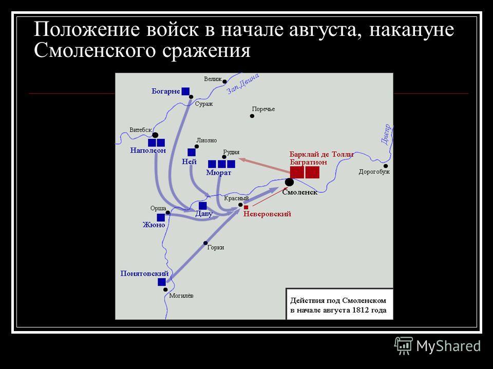 Положение войск в начале августа, накануне Смоленского сражения
