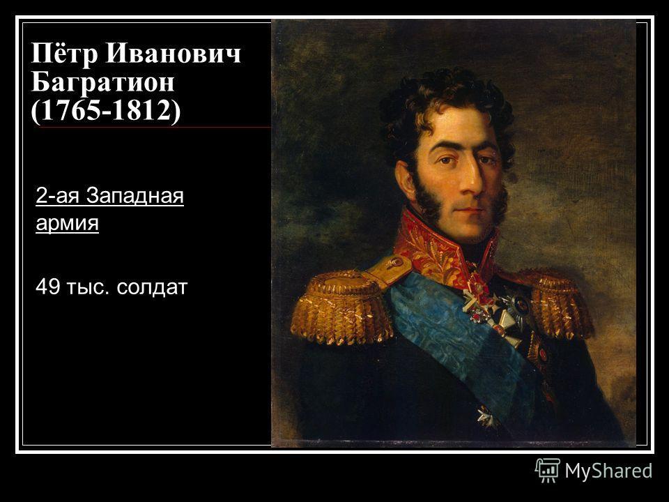 Пётр Иванович Багратион (1765-1812) 2-ая Западная армия 49 тыс. солдат