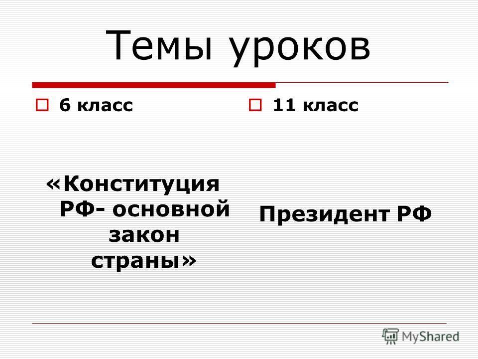 Темы уроков 6 класс «Конституция РФ- основной закон страны» 11 класс Президент РФ