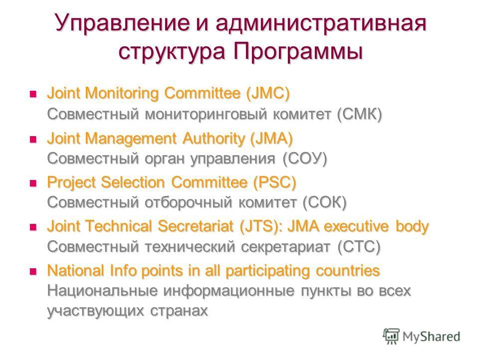 Управление и административная структура Программы Joint Monitoring Committee (JMC) Совместный мониторинговый комитет (СМК) Joint Monitoring Committee (JMC) Совместный мониторинговый комитет (СМК) Joint Management Authority (JMA) Совместный орган упра