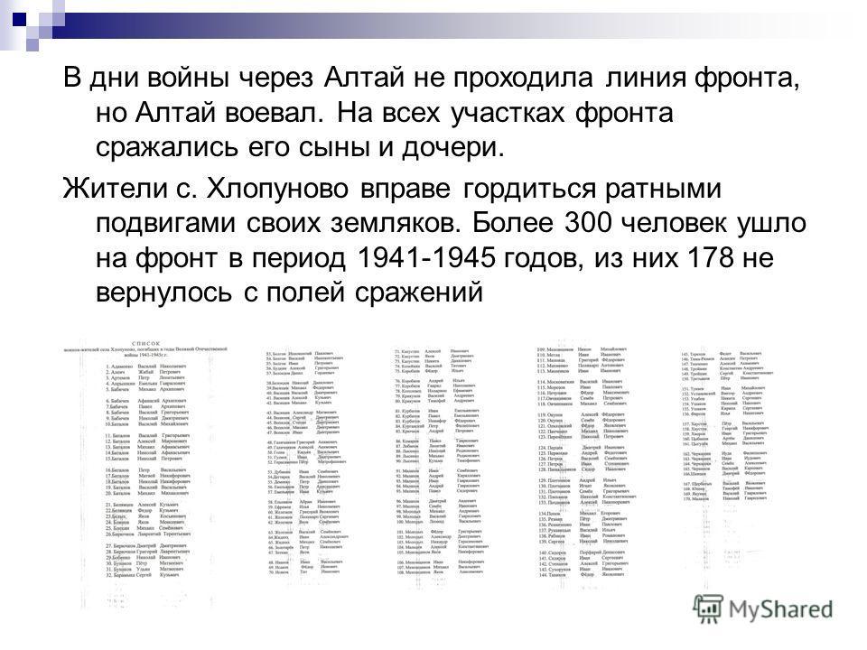 В дни войны через Алтай не проходила линия фронта, но Алтай воевал. На всех участках фронта сражались его сыны и дочери. Жители с. Хлопуново вправе гордиться ратными подвигами своих земляков. Более 300 человек ушло на фронт в период 1941-1945 годов,