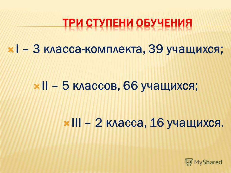 I – 3 класса-комплекта, 39 учащихся; II – 5 классов, 66 учащихся; III – 2 класса, 16 учащихся.