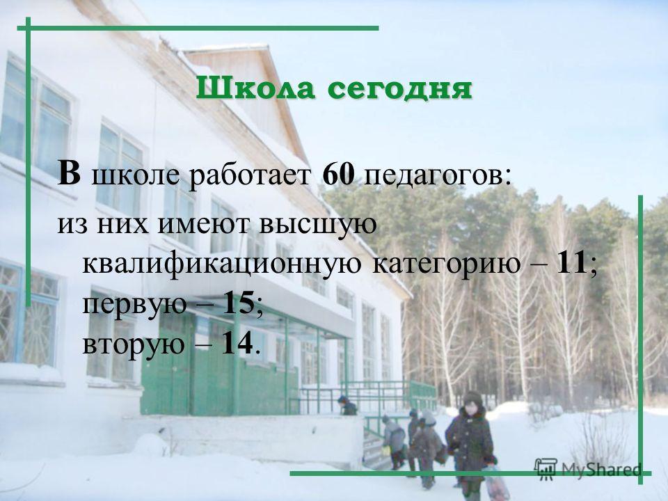 Школа сегодня В школе работает 60 педагогов: из них имеют высшую квалификационную категорию – 11; первую – 15; вторую – 14.