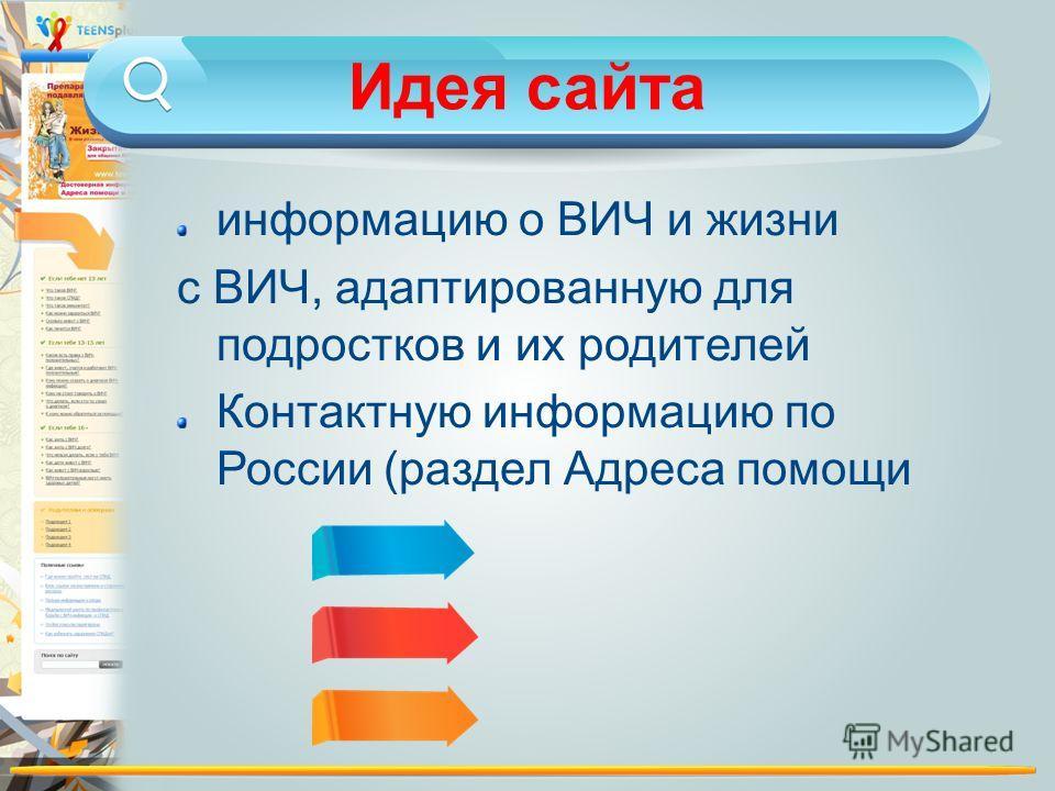 Идея сайта информацию о ВИЧ и жизни с ВИЧ, адаптированную для подростков и их родителей Контактную информацию по России (раздел Адреса помощи