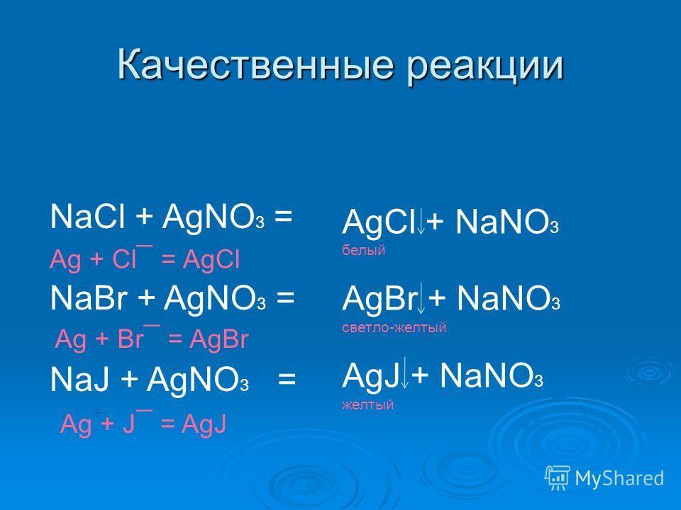 Качественные реакции NaCl + AgNO 3 = NaBr + AgNO 3 = NaJ + AgNO 3 = AgCl + NaNO 3 белый AgBr + NaNO 3 светло-желтый AgJ + NaNO 3 желтый Ag + Cl ¯ = AgCl Ag + Br ¯ = AgBr Ag + J ¯ = AgJ + + +