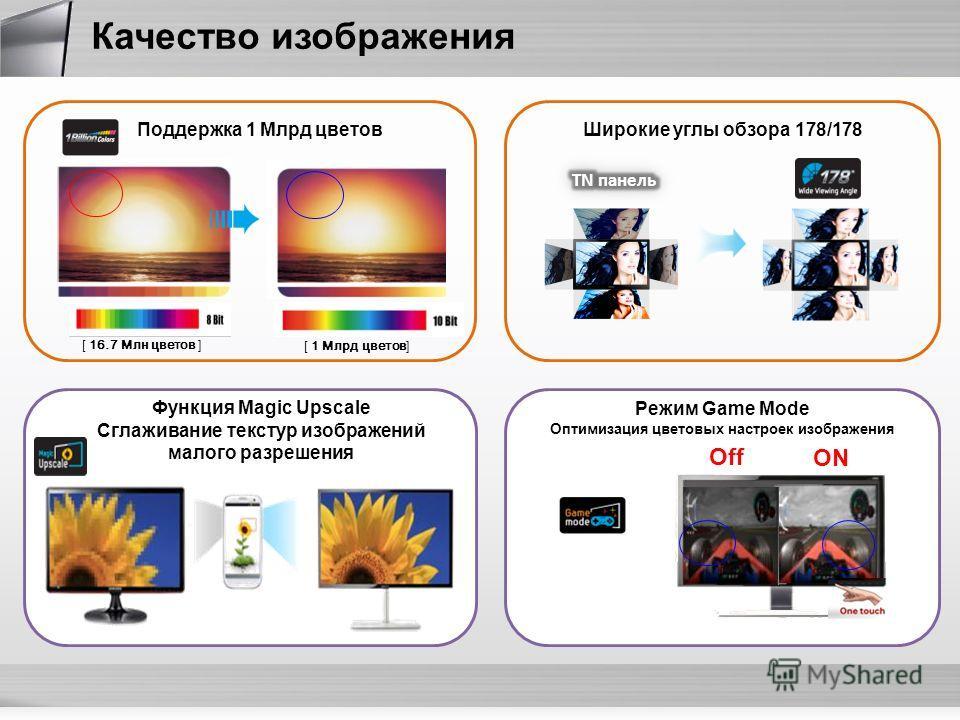 Функция Magic Upscale Сглаживание текстур изображений малого разрешения [ 16.7 Mлн цветов ] [ 1 Млрд цветов] Поддержка 1 Млрд цветов ON Off Режим Game Mode Оптимизация цветовых настроек изображения Широкие углы обзора 178/178 Качество изображения