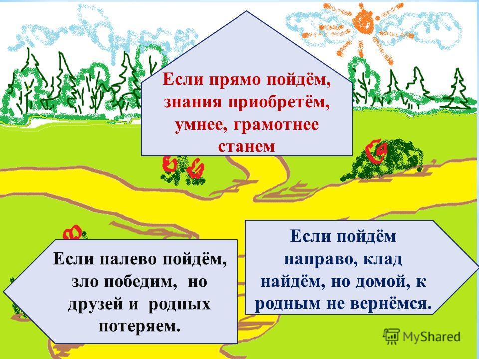 Если налево пойдём, зло победим, но друзей и родных потеряем. Если прямо пойдём, знания приобретём, умнее, грамотнее станем Если пойдём направо, клад найдём, но домой, к родным не вернёмся.