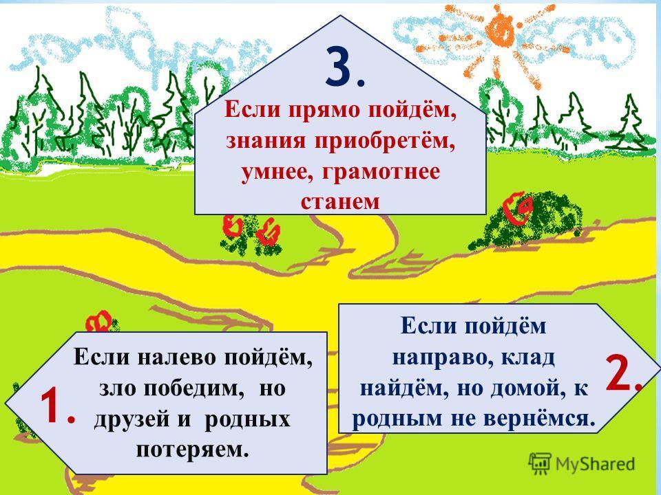 Если налево пойдём, зло победим, но друзей и родных потеряем. Если прямо пойдём, знания приобретём, умнее, грамотнее станем Если пойдём направо, клад найдём, но домой, к родным не вернёмся. 1.1. 3.3. 2.2.