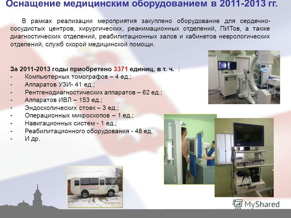 Оснащение медицинским оборудованием в 2011-2013 гг. В рамках реализации мероприятия закуплено оборудование для сердечно- сосудистых центров, хирургических, реанимационных отделений, ПИТов, а также диагностических отделений, реабилитационных залов и к