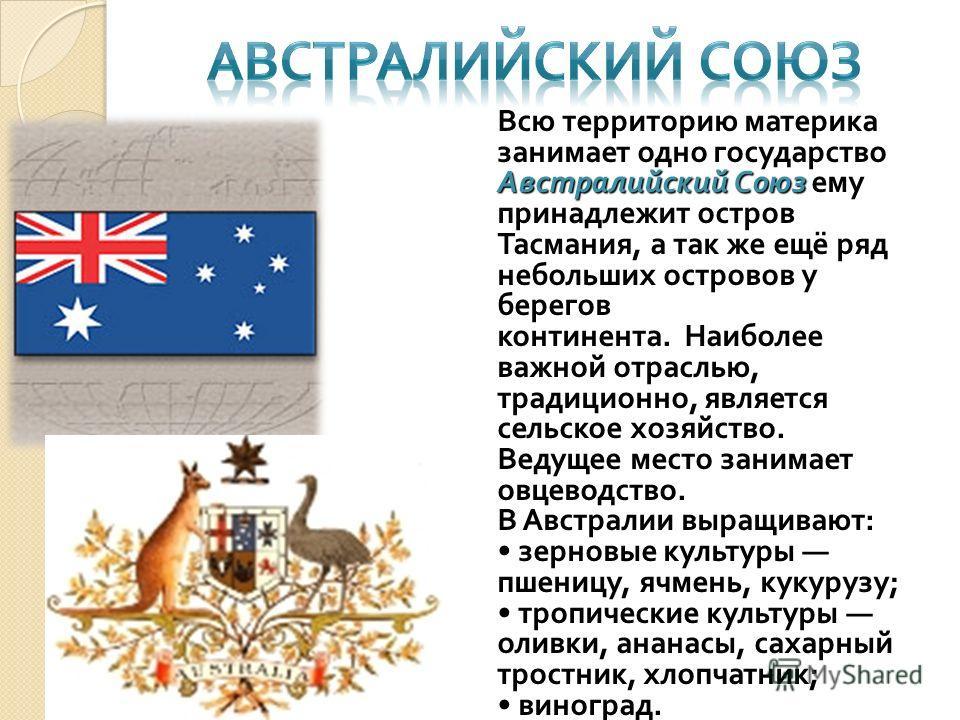 Австралийский Союз Всю территорию материка занимает одно государство Австралийский Союз ему принадлежит остров Тасмания, а так же ещё ряд небольших островов у берегов континента. Наиболее важной отраслью, традиционно, является сельское хозяйство. Вед
