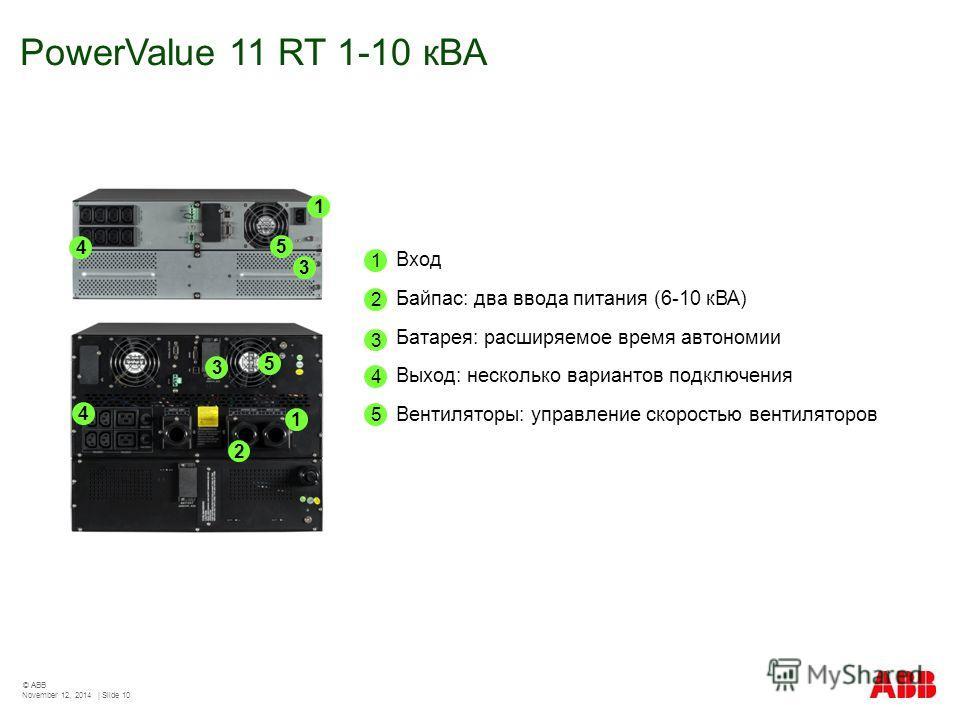 PowerValue 11 RT 1-10 кВА November 12, 2014 | Slide 10 © ABB 1 1 5 5 2 3 3 4 4 1 Вход Байпас: два ввода питания (6-10 кВА) Батарея: расширяемое время автономии Выход: несколько вариантов подключения Вентиляторы: управление скоростью вентиляторов 2 3