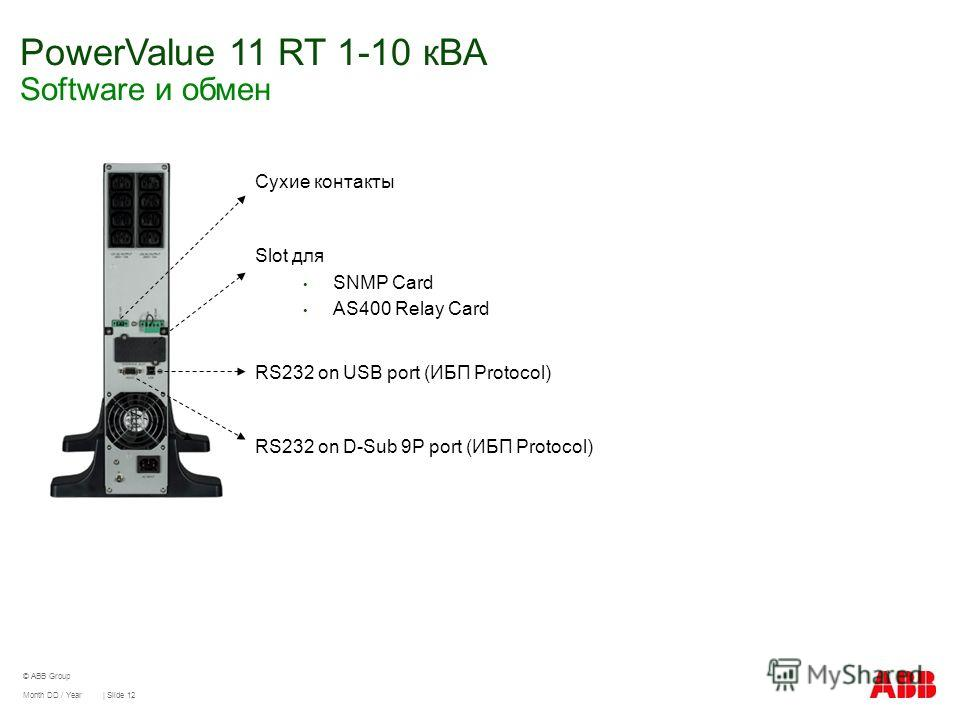 PowerValue 11 RT 1-10 кВА Software и обмен Month DD / Year | Slide 12 © ABB Group Сухие контакты Slot для SNMP Card AS400 Relay Card RS232 on USB port (ИБП Protocol) RS232 on D-Sub 9P port (ИБП Protocol)