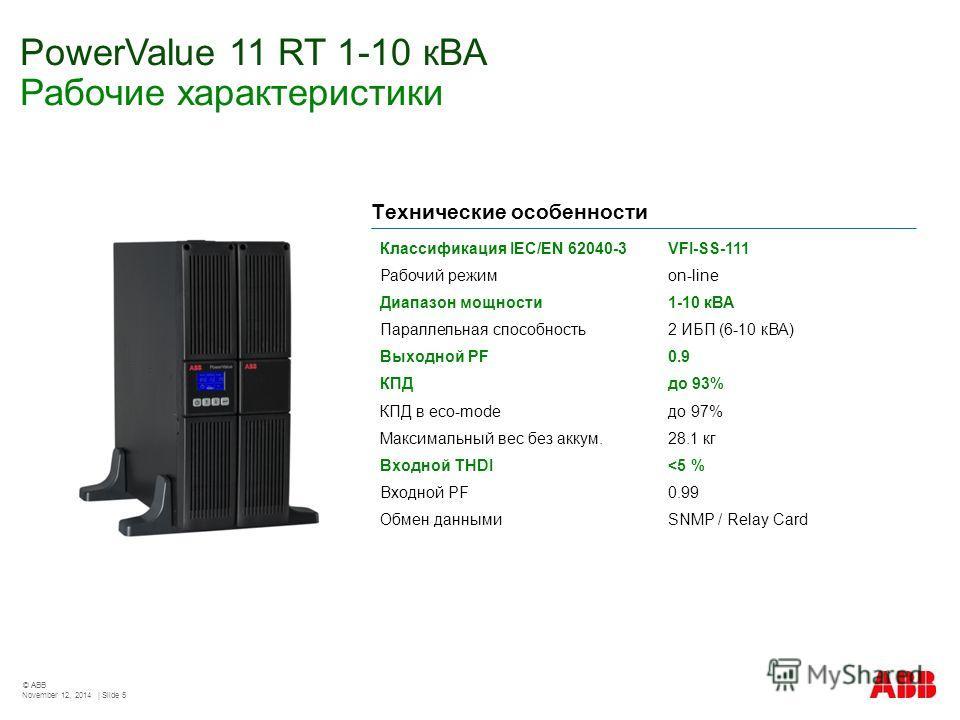 PowerValue 11 RT 1-10 кВА Рабочие характеристики November 12, 2014 | Slide 5 © ABB Классификация IEC/EN 62040-3VFI-SS-111 Рабочий режимon-line Диапазон мощности 1-10 кВА Параллельная способность 2 ИБП (6-10 кВА) Выходной PF0.9 КПДдо 93% КПД в eco-mod