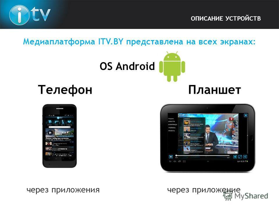 Медиаплатформа ITV.BY представлена на всех экранах: OS Android через приложения через приложение Телефон Планшет ОПИСАНИЕ УСТРОЙСТВ