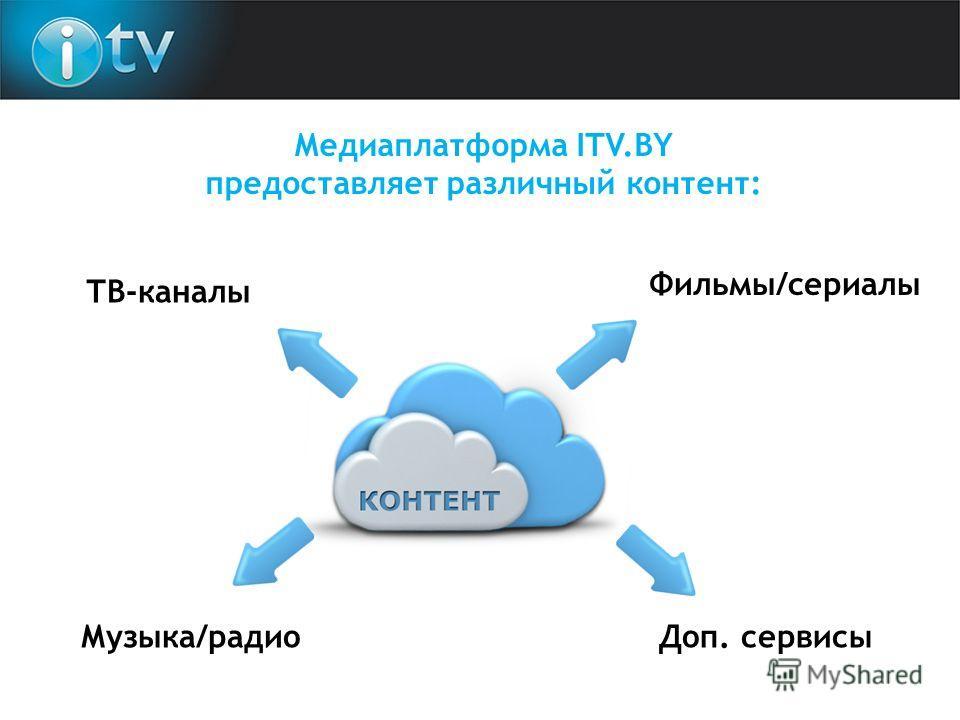 Медиаплатформа ITV.BY предоставляет различный контент: ТВ-каналы Фильмы/сериалы Музыка/радио Доп. сервисы
