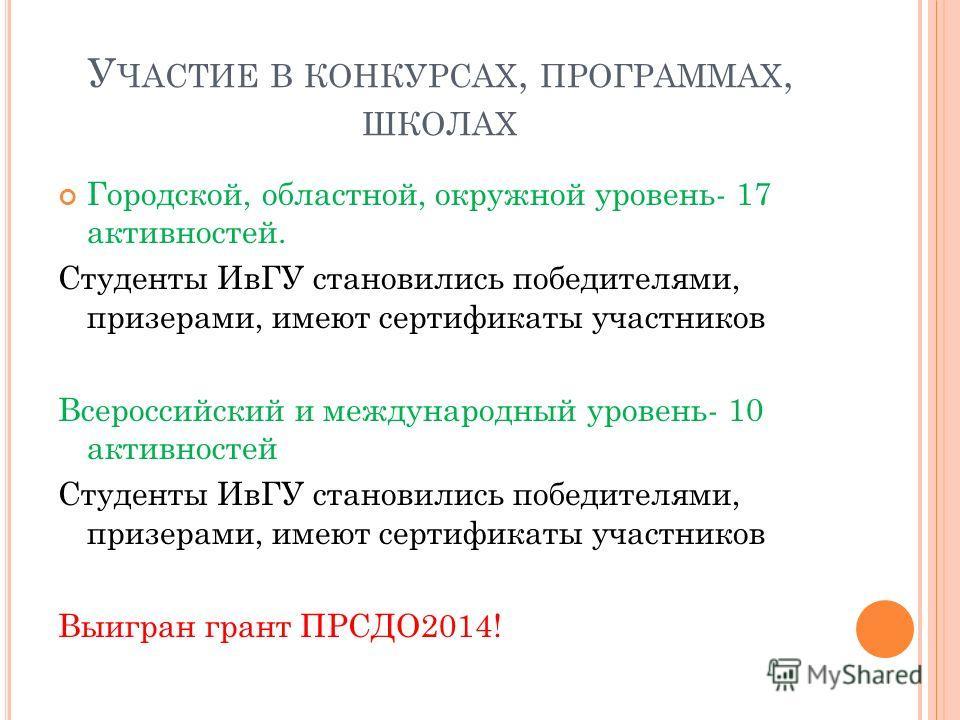 У ЧАСТИЕ В КОНКУРСАХ, ПРОГРАММАХ, ШКОЛАХ Городской, областной, окружной уровень- 17 активностей. Студенты ИвГУ становились победителями, призерами, имеют сертификаты участников Всероссийский и международный уровень- 10 активностей Студенты ИвГУ стано