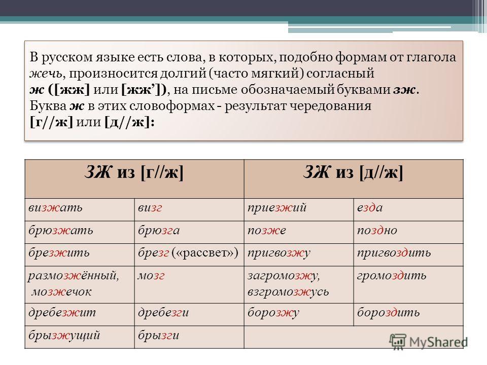 В русском языке есть слова, в которых, подобно формам от глагола жечь, произносится долгий (часто мягкий) согласный ж ([жж] или [жж]), на письме обозначаемый буквами зж. Буква ж в этих словоформах - результат чередования [г//ж] или [д//ж]: ЗЖ из [г//