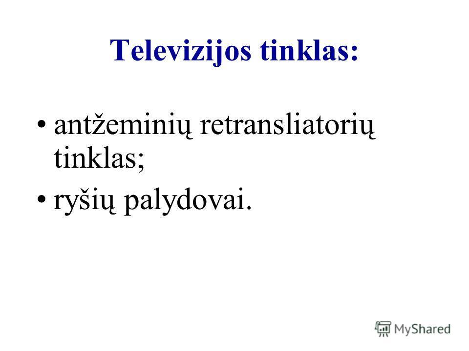 Televizijos tinklas: antžeminių retransliatorių tinklas; ryšių palydovai.