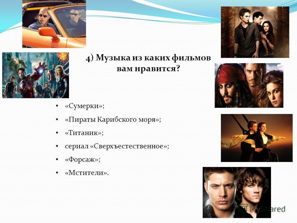 4) Музыка из каких фильмов вам нравится? «Сумерки»; «Пираты Карибского моря»; «Титаник»; сериал «Сверхъестественное»; «Форсаж»; «Мстители».