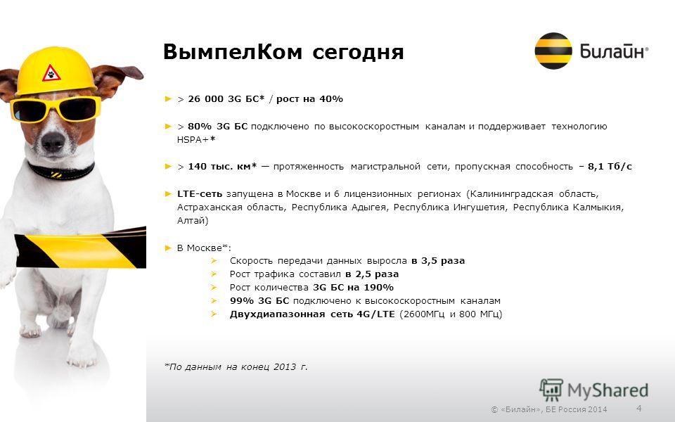 © «Билайн», БЕ Россия 2014 4 Вымпел Ком сегодня > 26 000 3G БС* / рост на 40% > 80% 3G БС подключено по высокоскоростным каналам и поддерживает технологию HSPA+* > 140 тыс. км* протяженность магистральной сети, пропускная способность – 8,1 Тб/с LTE-с