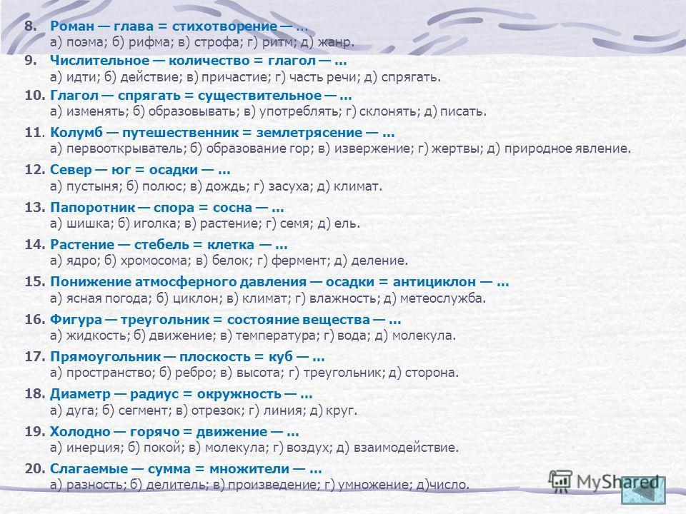 8. Роман глава = стихотворение... а) поэма; б) рифма; в) строфа; г) ритм; д) жанр. 9. Числительное количество = глагол... а) идти; б) действие; в) причастие; г) часть речи; д) спрягать. 10. Глагол спрягать = существительное... а) изменять; б) образо