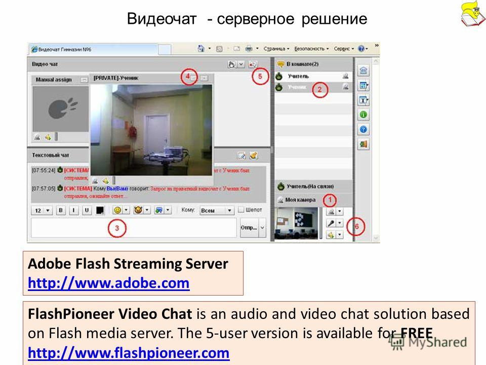 FlashPioneer Video Chat is an audio and video chat solution based on Flash media server. The 5-user version is available for FREE http://www.flashpioneer.com Adobe Flash Streaming Server http://www.adobe.com Видеочат - серверное решение