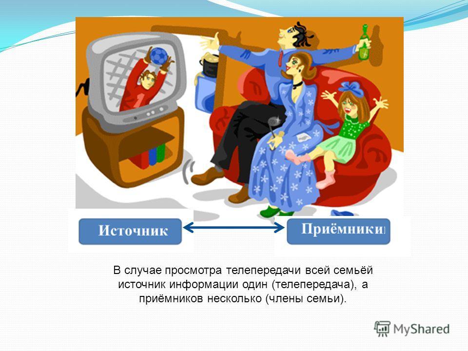 В случае просмотра телепередачи всей семьёй источник информации один (телепередача), а приёмников несколько (члены семьи).