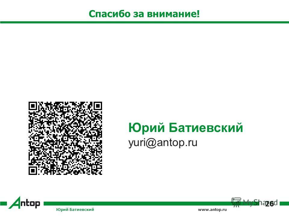 www.antop.ru Спасибо за внимание! Юрий Батиевский 26 Юрий Батиевский yuri@antop.ru