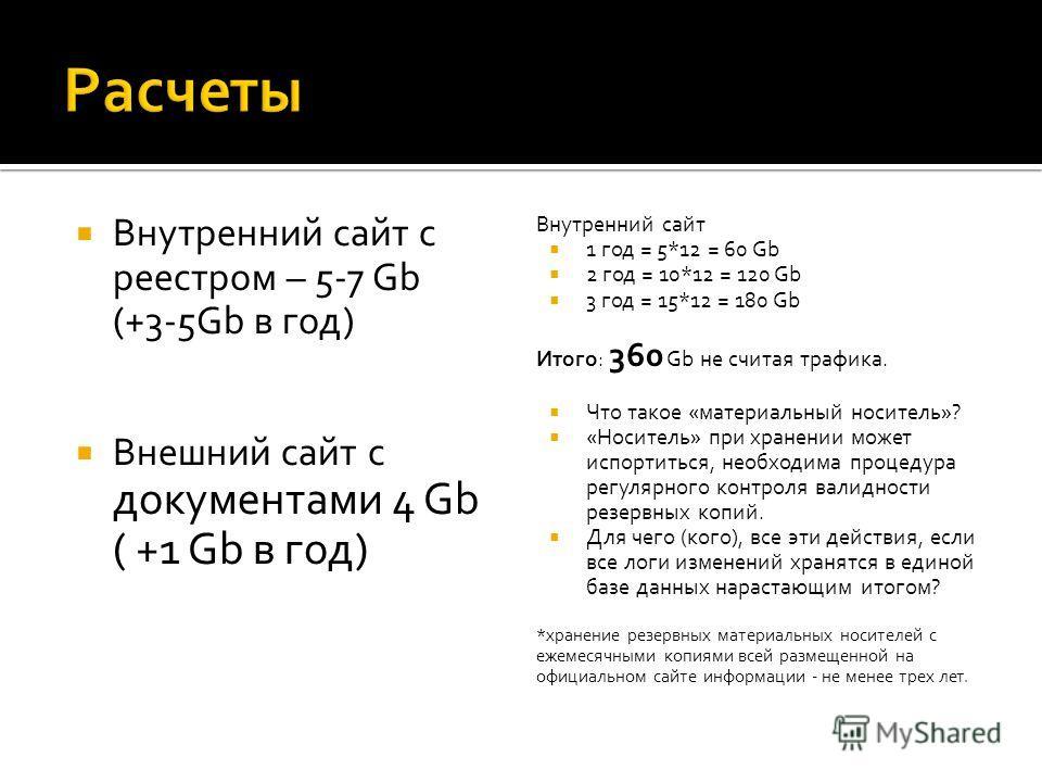 Внутренний сайт с реестром – 5-7 Gb (+3-5Gb в год) Внешний сайт с документами 4 Gb ( +1 Gb в год) Внутренний сайт 1 год = 5*12 = 60 Gb 2 год = 10*12 = 120 Gb 3 год = 15*12 = 180 Gb Итого: 360 Gb не считая трафика. Что такое «материальный носитель»? «